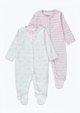 Girls 2 Pack Printed Baby Grows (Tiny Baby-23mths)
