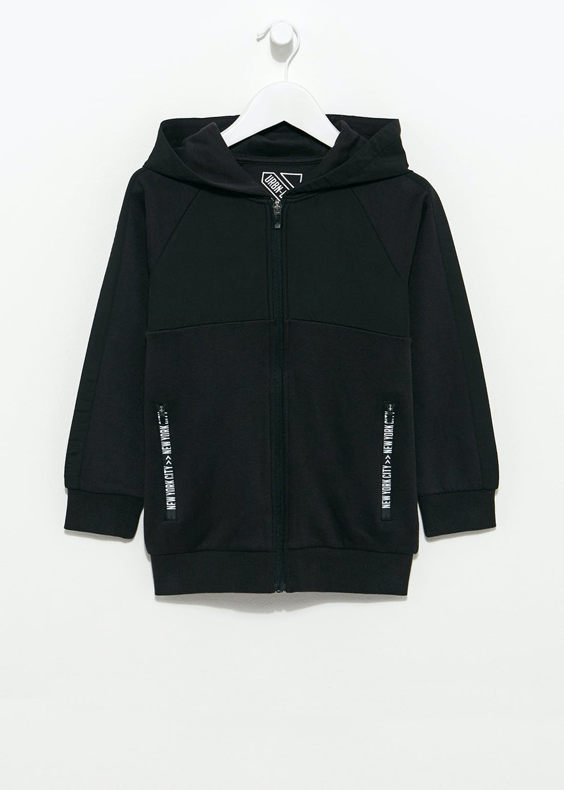 Boys Black Zip Up Hoodie (4-13yrs)