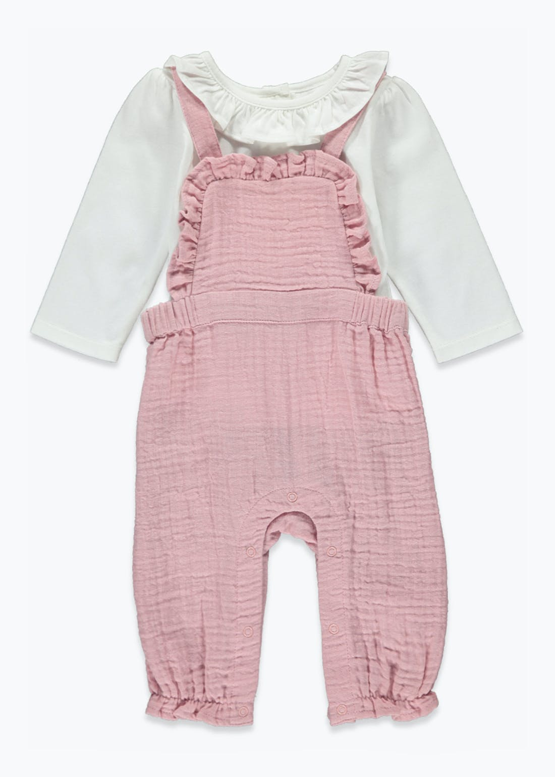 Girls Frill Dungaree & T-Shirt Set (Newborn-23mths)