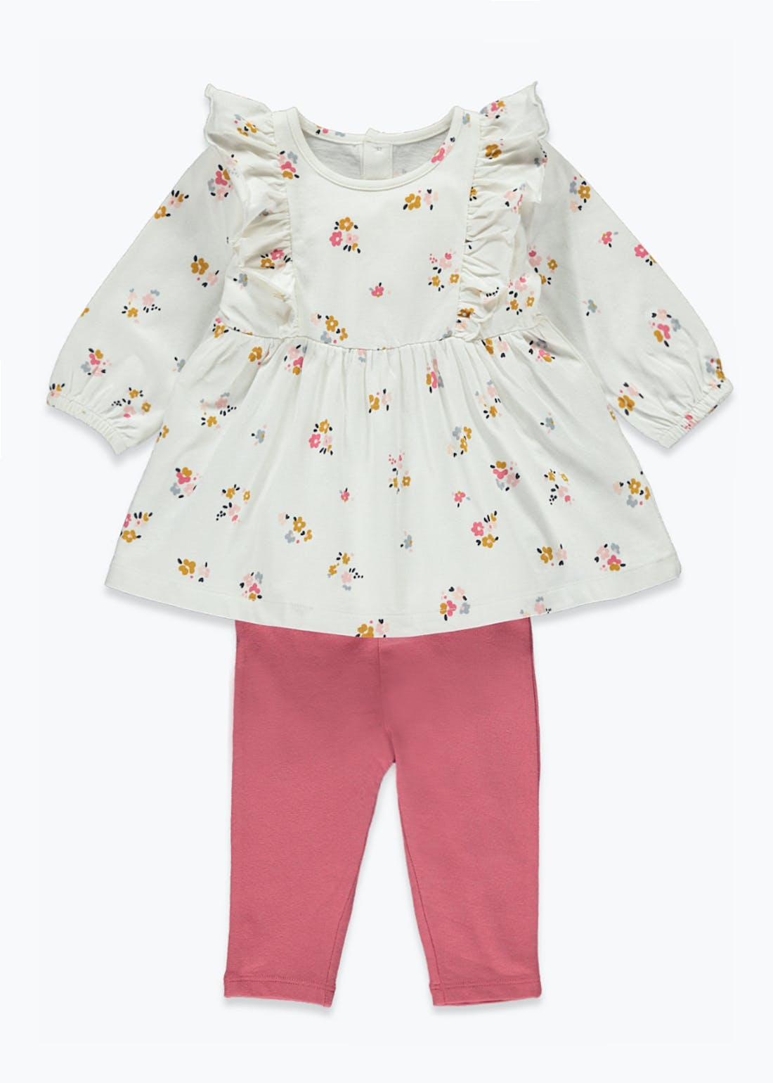 Girls Floral Frill Tunic & Leggings Set (Tiny Baby-23mths)