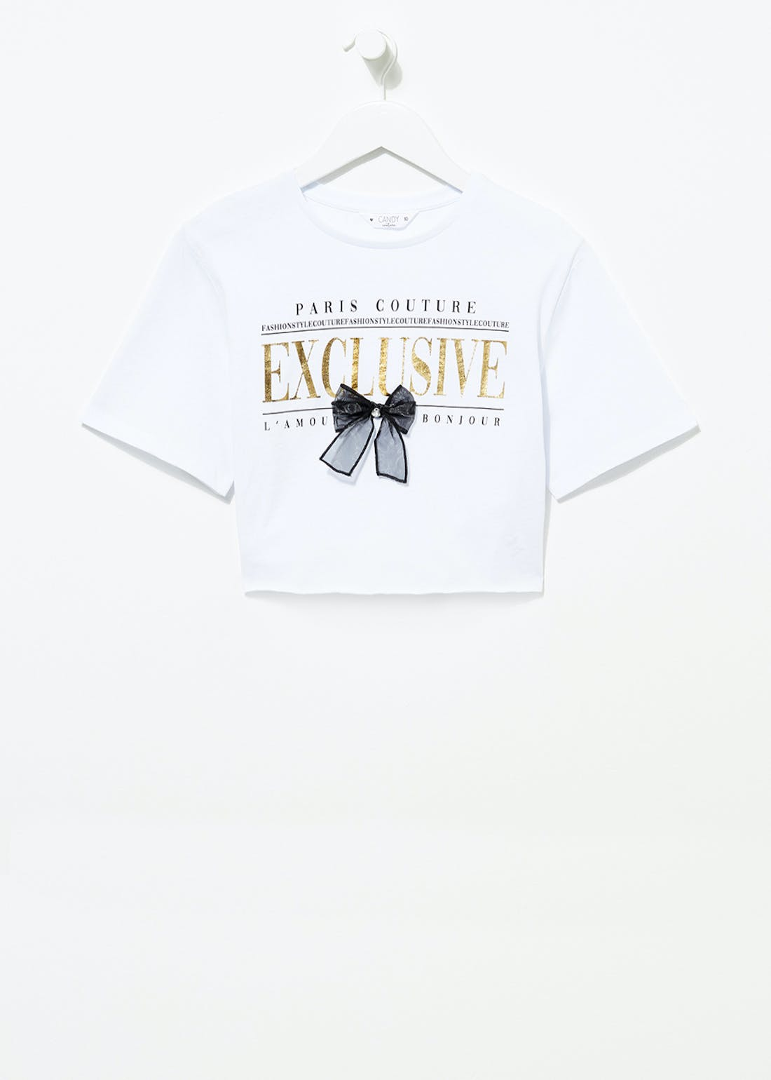 Girls Candy Couture Crop Bow T-Shirt (9-16yrs)