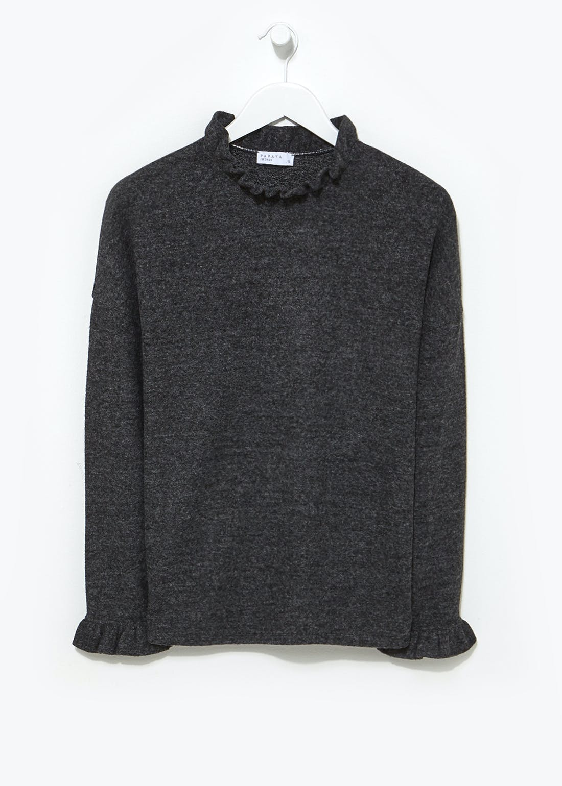Soft Touch Ruffle Funnel Neck Top