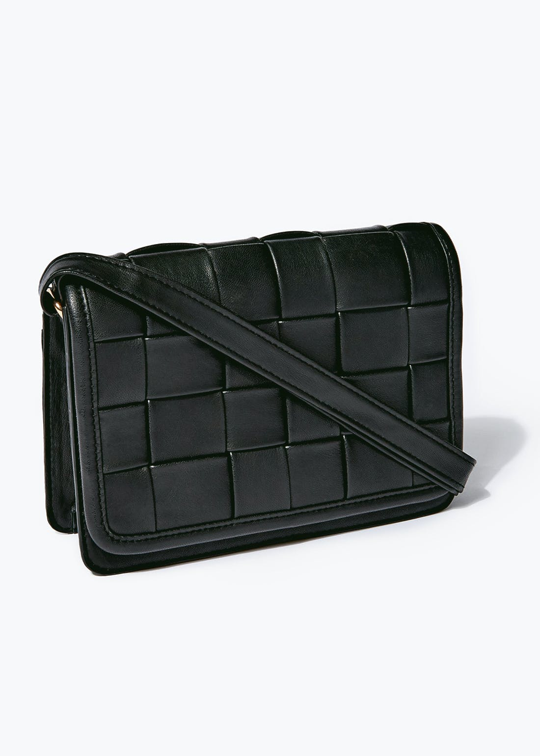 Black Weave Cross-Body Bag