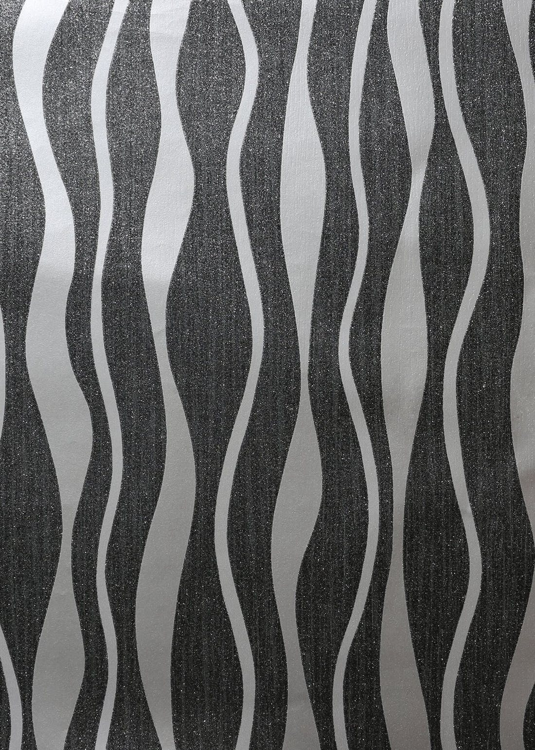 Arthouse Black & Silver Metallic Wave Wallpaper (10.05m x 53cm)