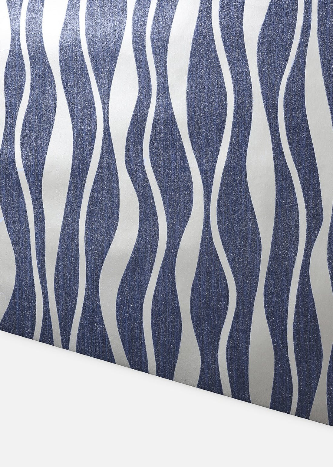 Arthouse Navy & Silver Metallic Wave Wallpaper (10.05m x 53cm)
