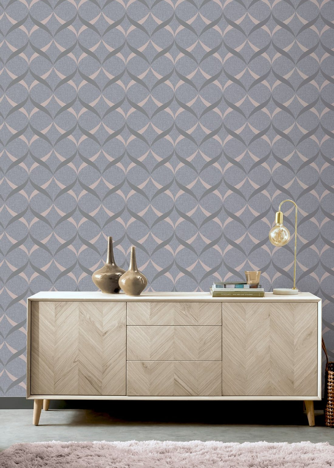 Arthouse Charcoal Rose Gold Metallic Ogee Wallpaper (10.05m x 53cm)