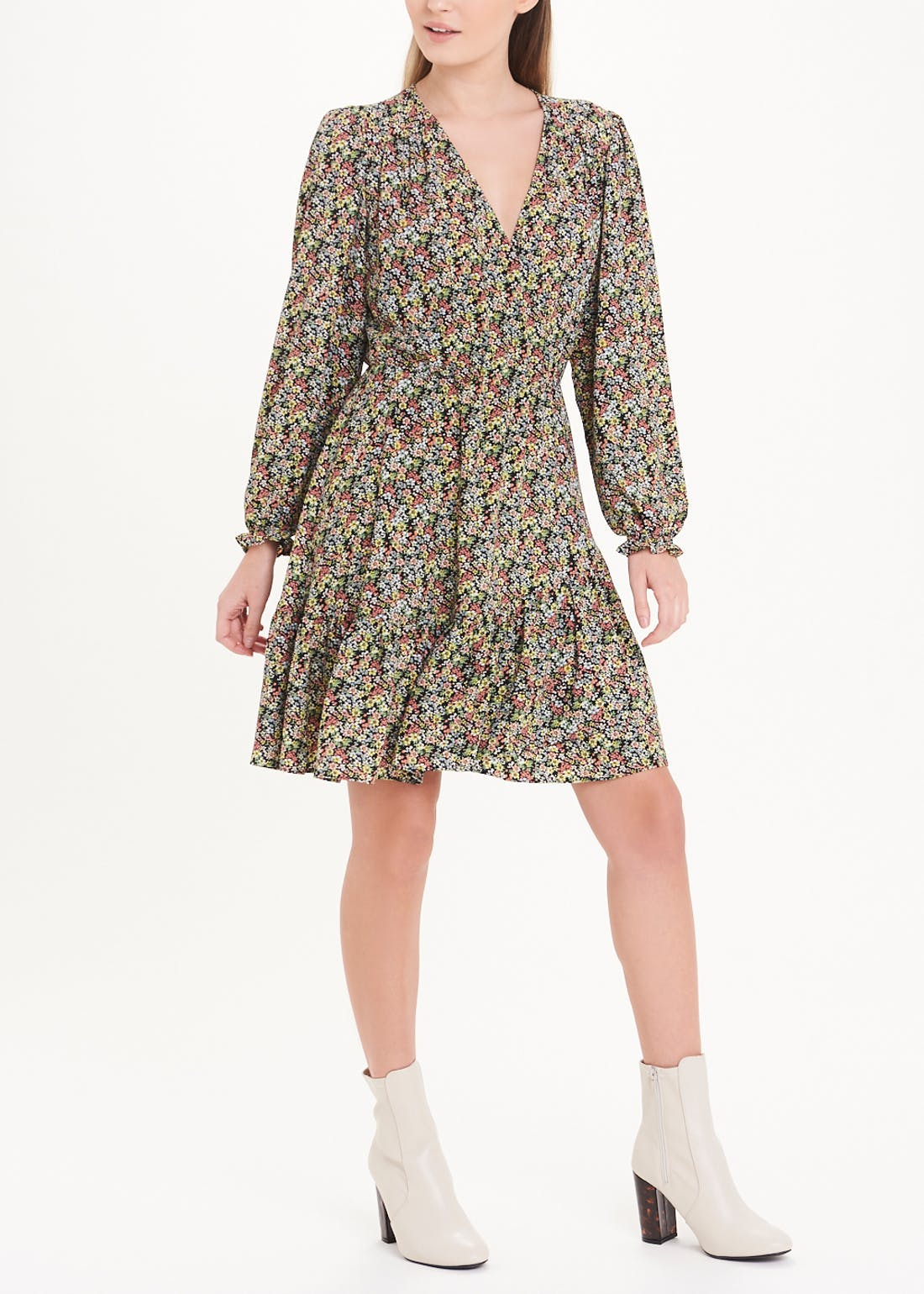 Floral Mock Wrap Mini Dress