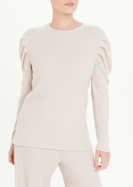 Brushed Ribbed Puff Sleeve Top