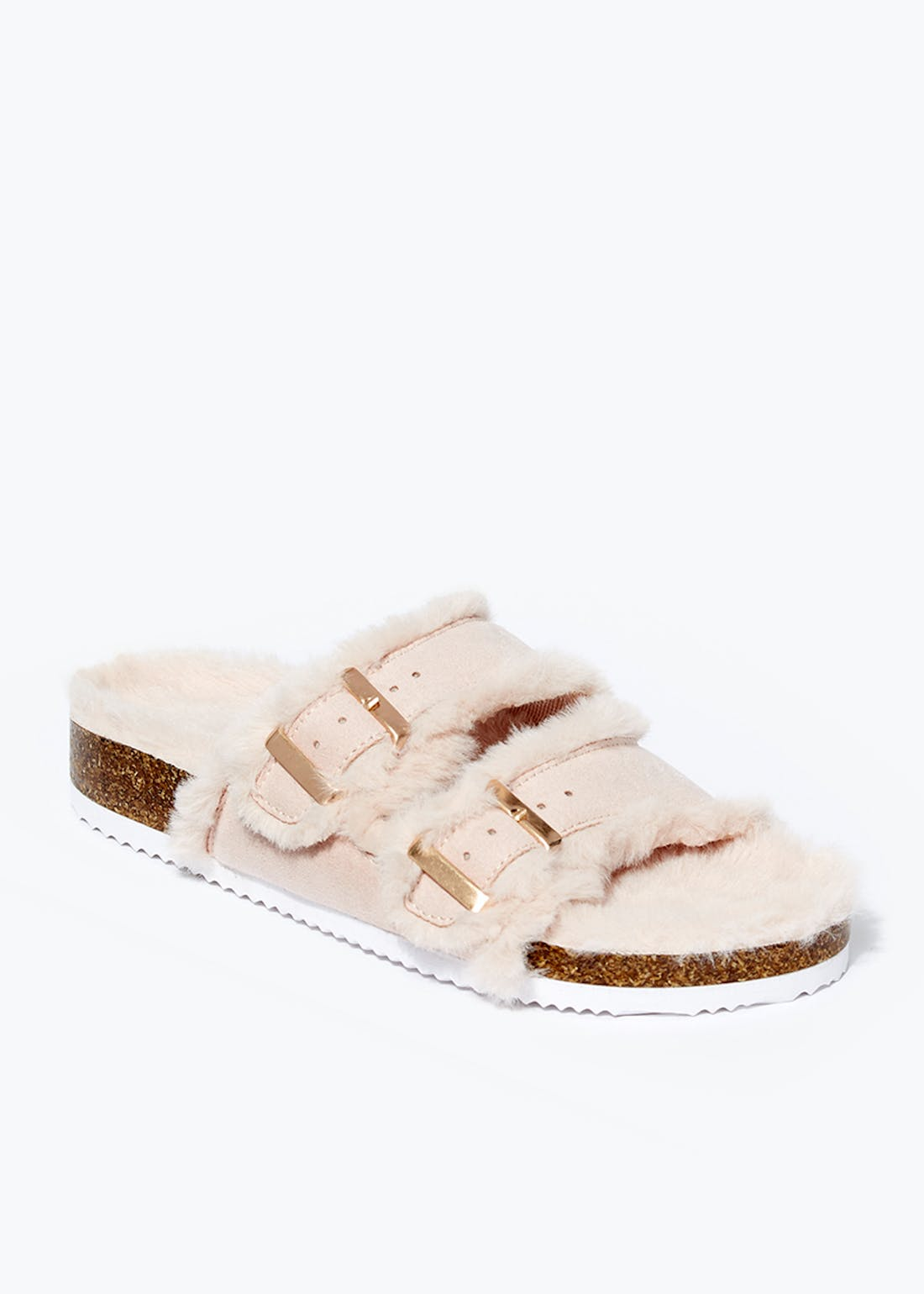 Faux Fur Footbed Sandals