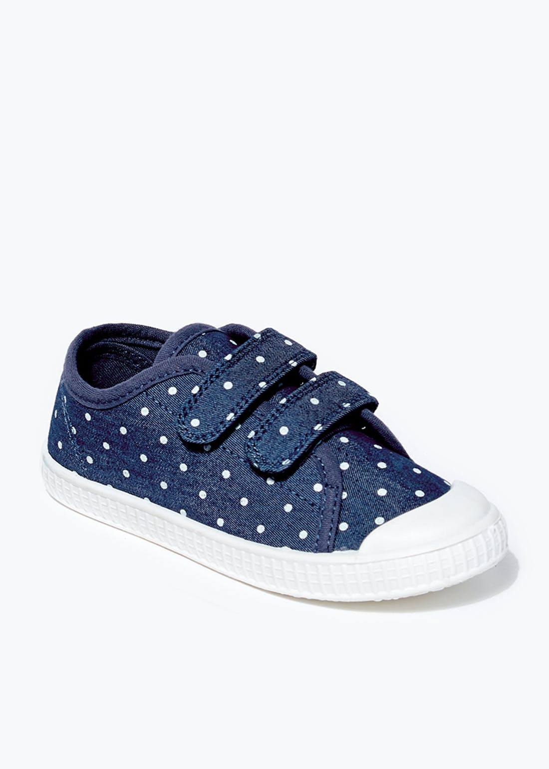 Girls Denim Polka Dot Double Strap Trainers (Younger 4-12)