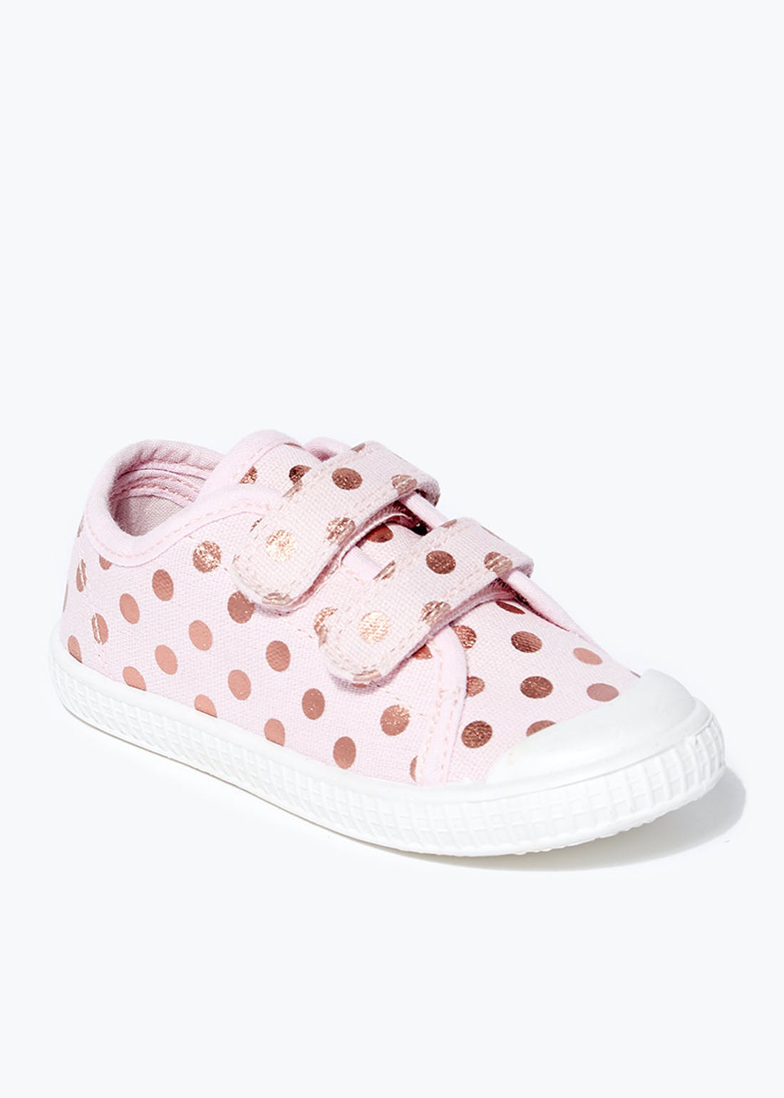 Girls Pink Polka Dot Double Strap Trainers (Younger 4-12)