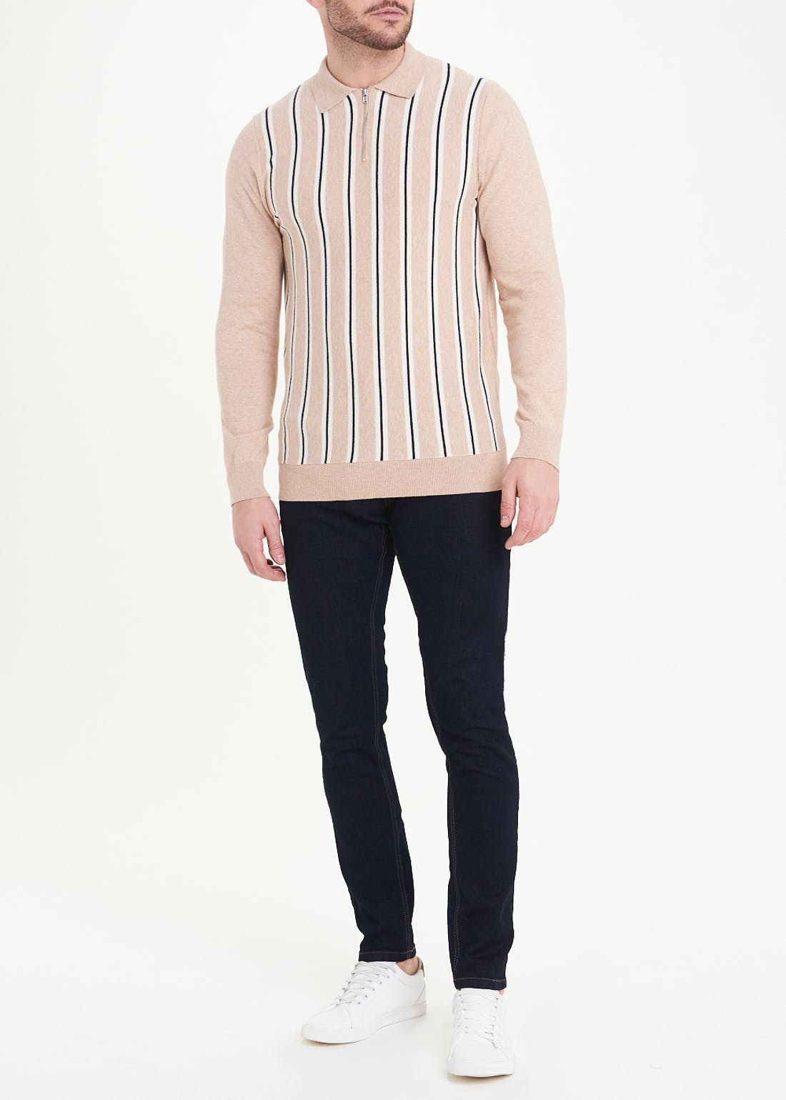 Long Sleeve Knitted Stripe Polo Shirt