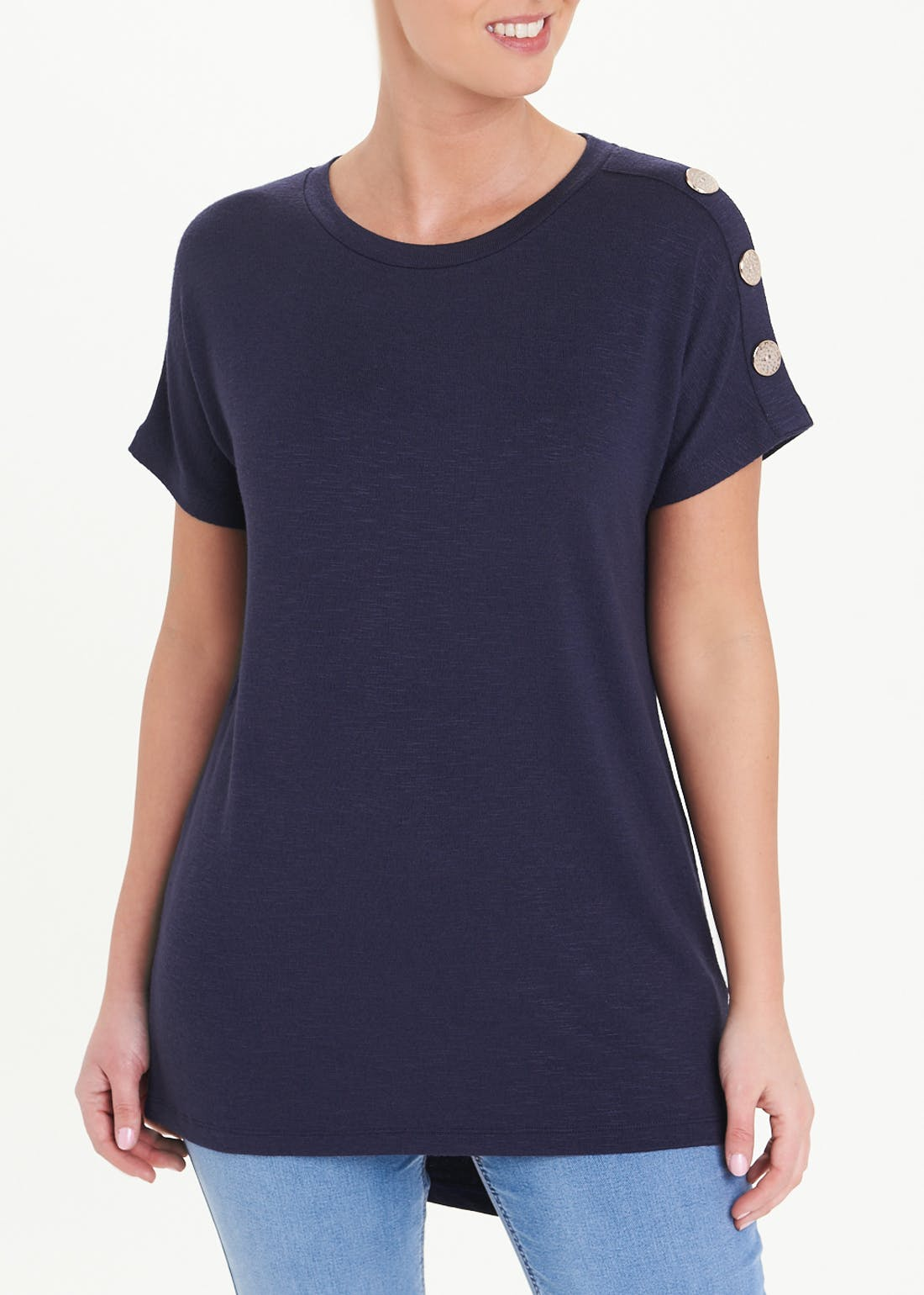 Button Shoulder Short Sleeve Top