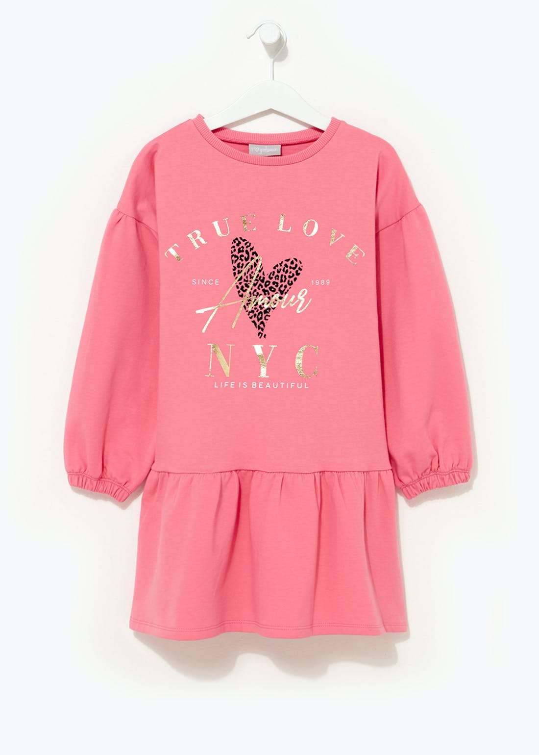 Girls Pink Slogan Sweatshirt Dress (4-13yrs)
