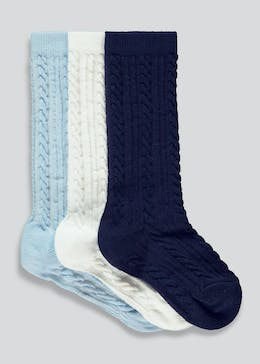 Unisex 3 Pack Cable Socks (Newborn-12mths)