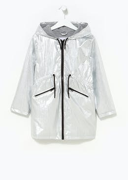Girls Metallic Silver Mac (4-13yrs)
