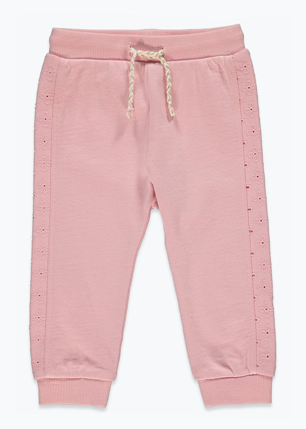 Girls Broderie Joggers (9mths-6yrs) – Pink