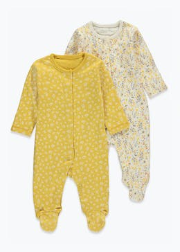 Girls 2 Pack Floral Baby Grows (Tiny Baby-23mths)