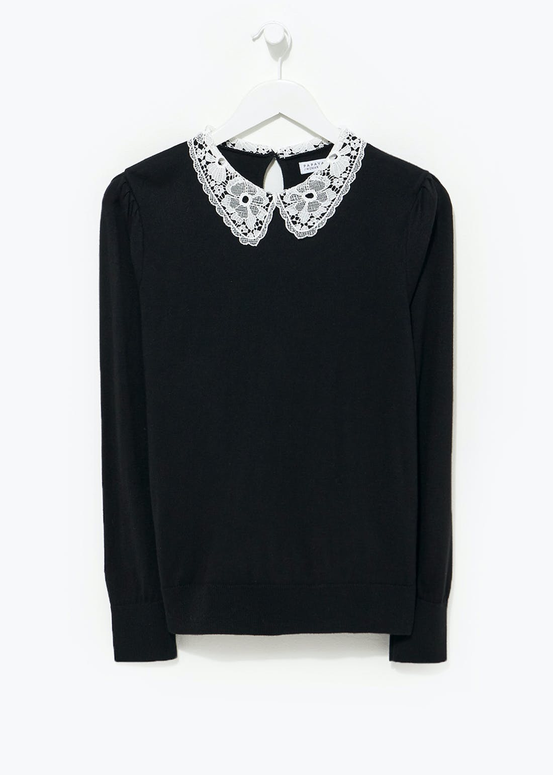 2 in 1 Lace Collar Shirt Jumper