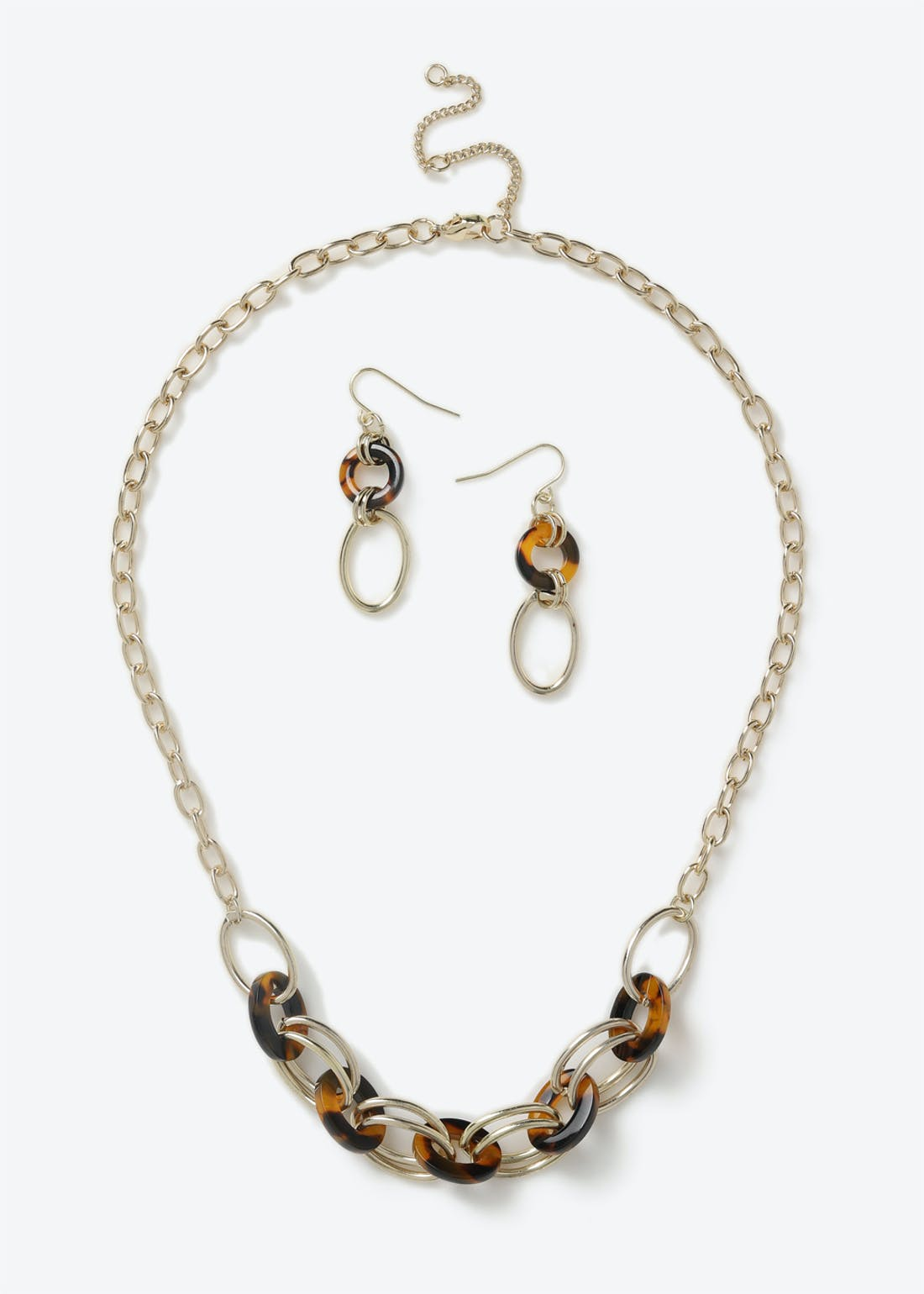 Resin Link Earring & Necklace Set