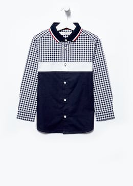 Boys Gingham Colour Block Shirt (4-13yrs)