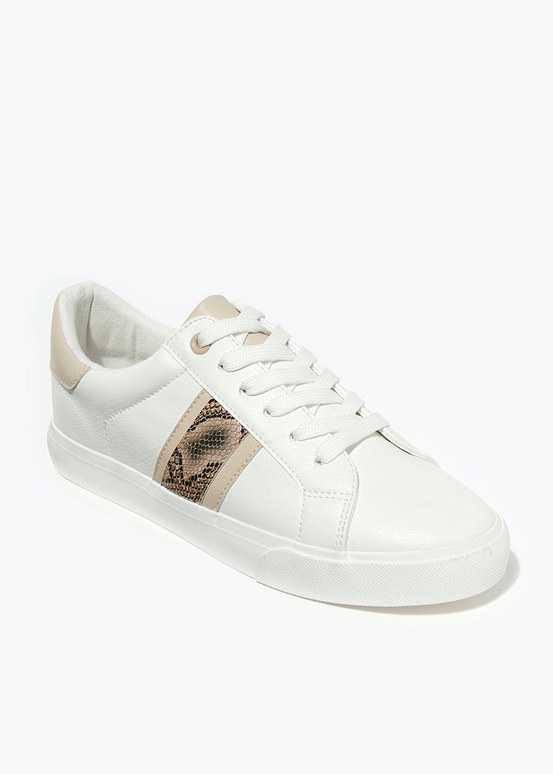 White Snake Stripe Trainers