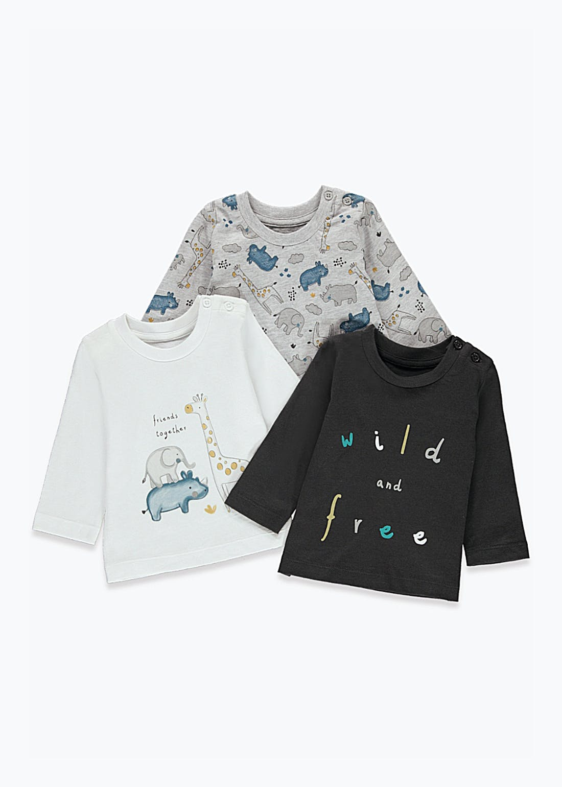 Unisex 3 Pack Safari T-Shirts (Newborn-23mths)