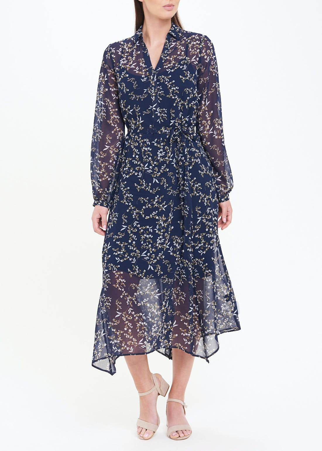 Soon Navy Floral Hanky Hem Midi Dress