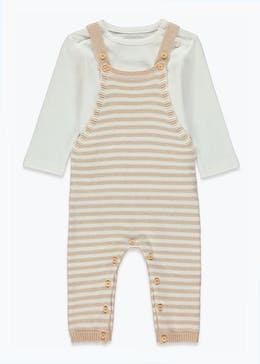 Unisex Organic Cotton Knitted Dungarees & T-Shirt Set (Newborn-23mths)