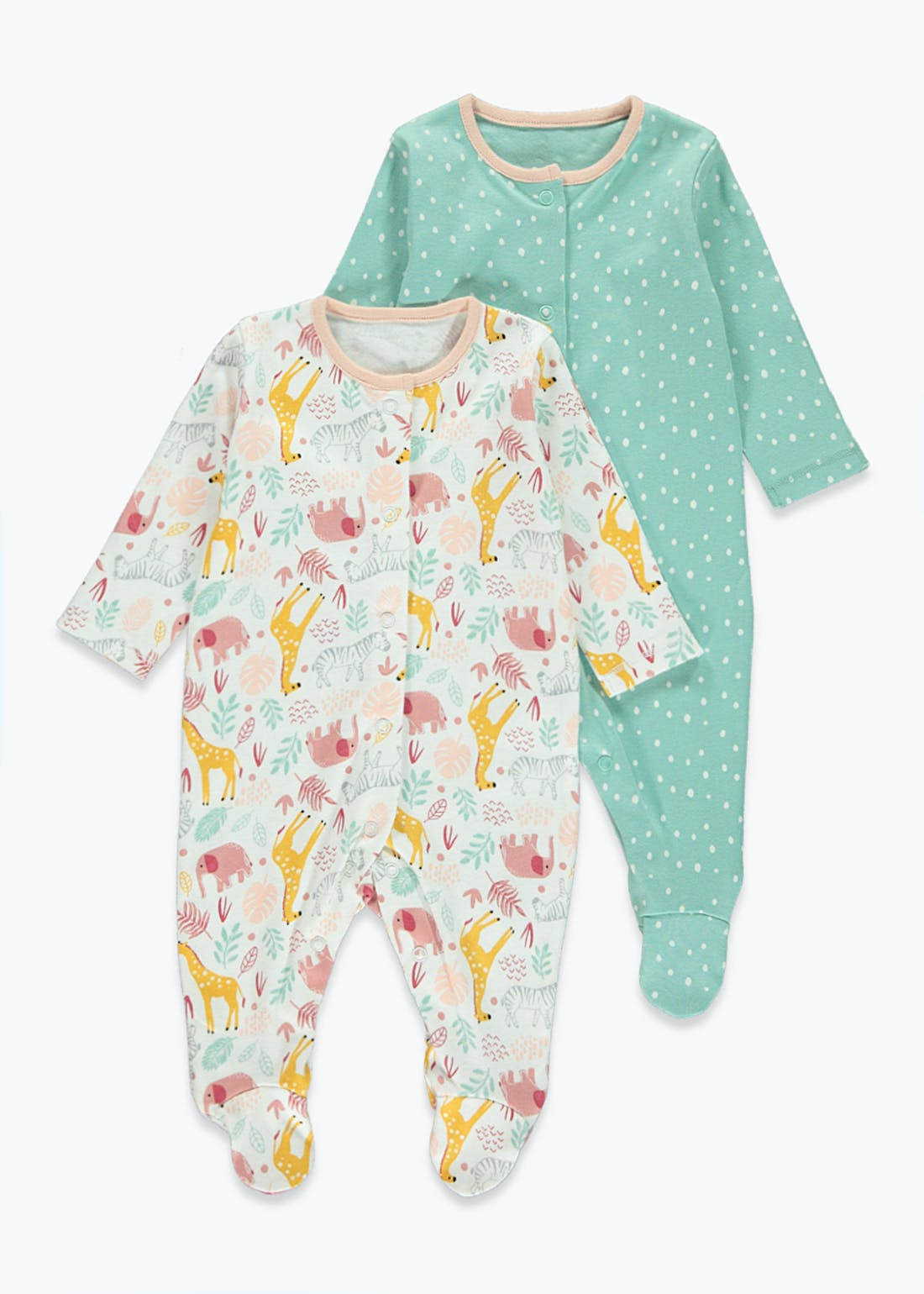 Girls 2 Pack Safari Print Baby Grows (Tiny Baby-23mths)