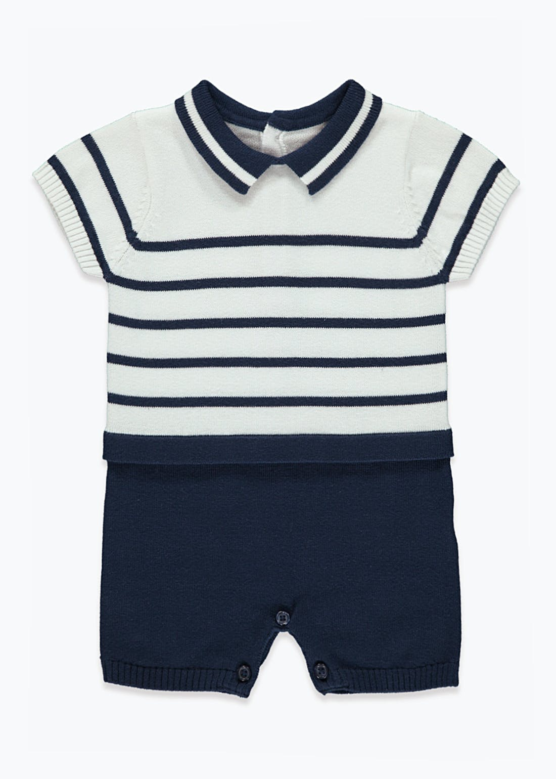 Boys Knitted Stripe Romper (Tiny Baby-23mths)