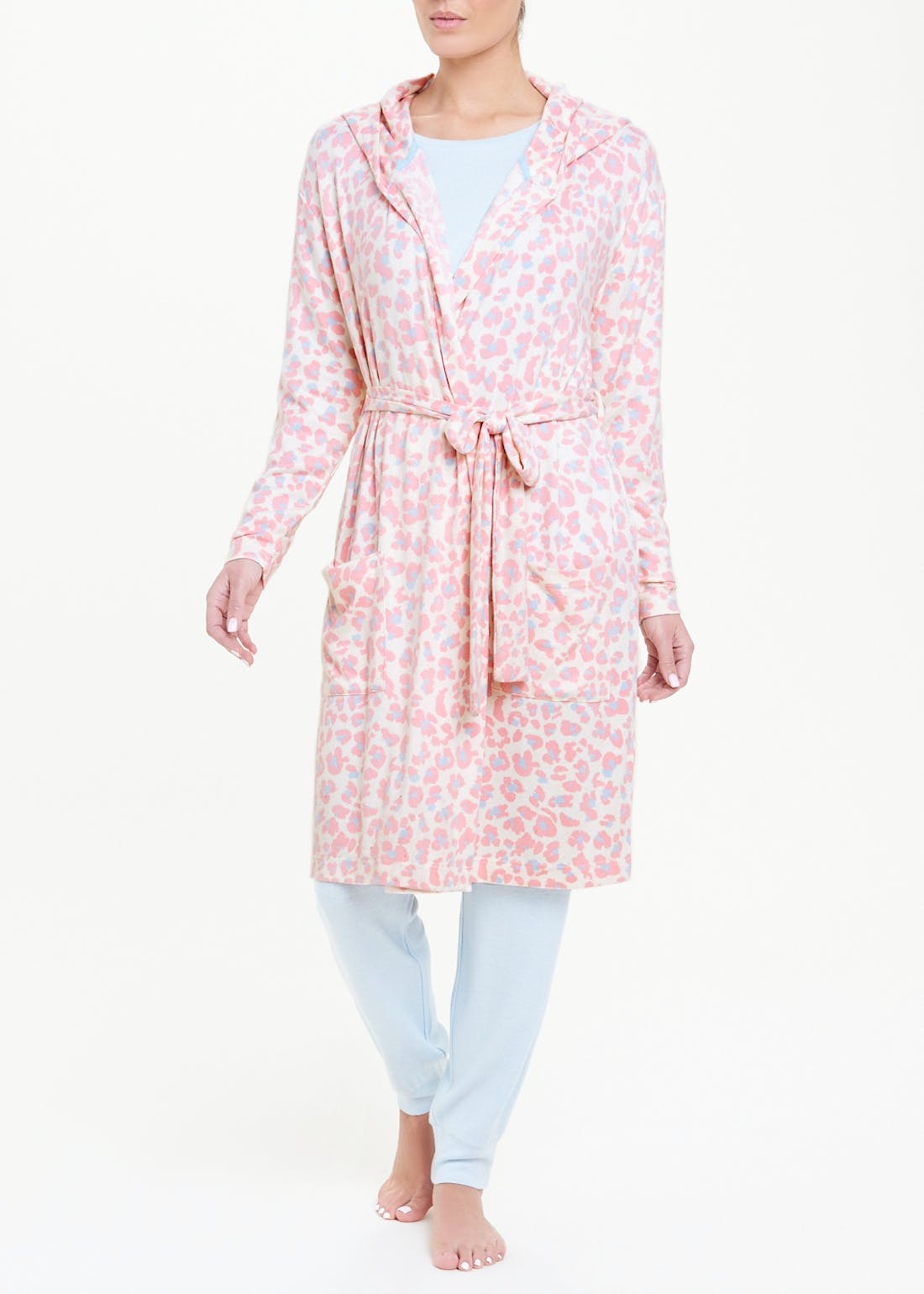 Soft Touch Animal Print Hooded Dressing Gown