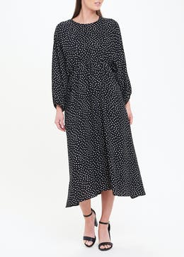 Soon Black Spot Print Midi Dress