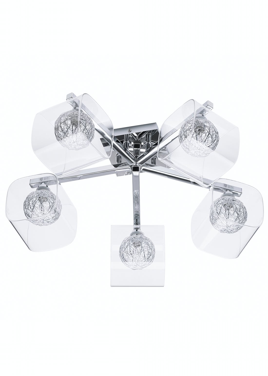 Inlight Veneto 5 Light Wire Globe Semi Flush Ceiling Light (24.5cm x 55cm x 55cm)