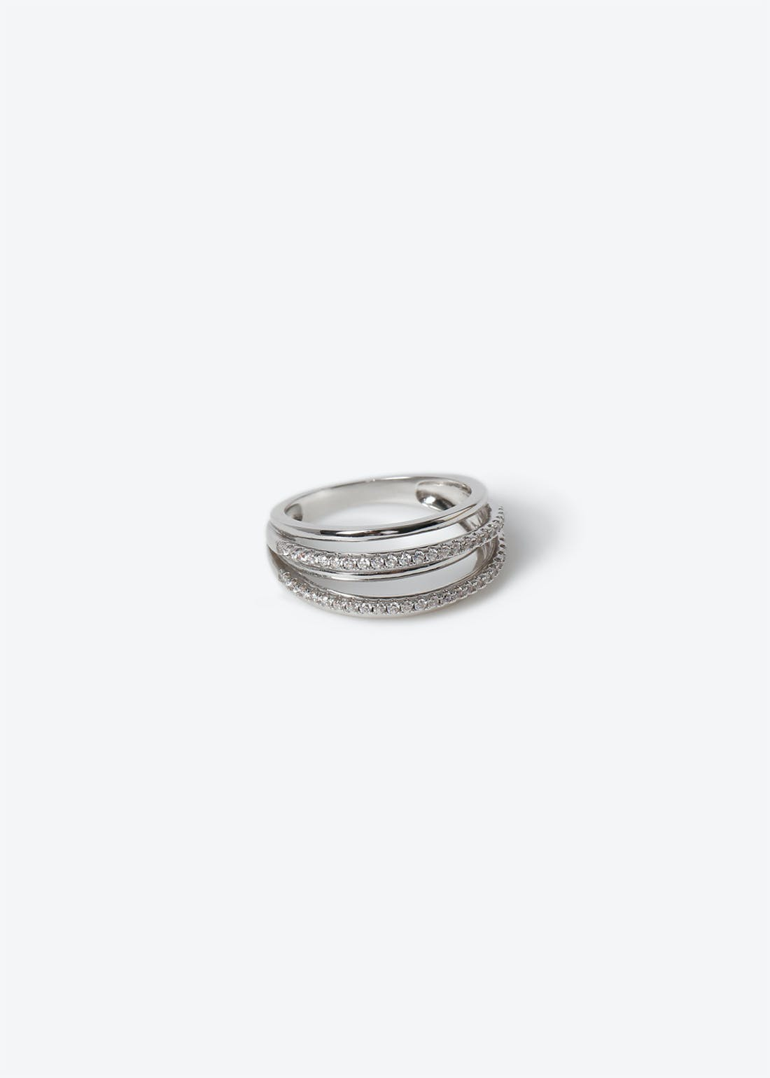 Platinum Plated Double Band Ring