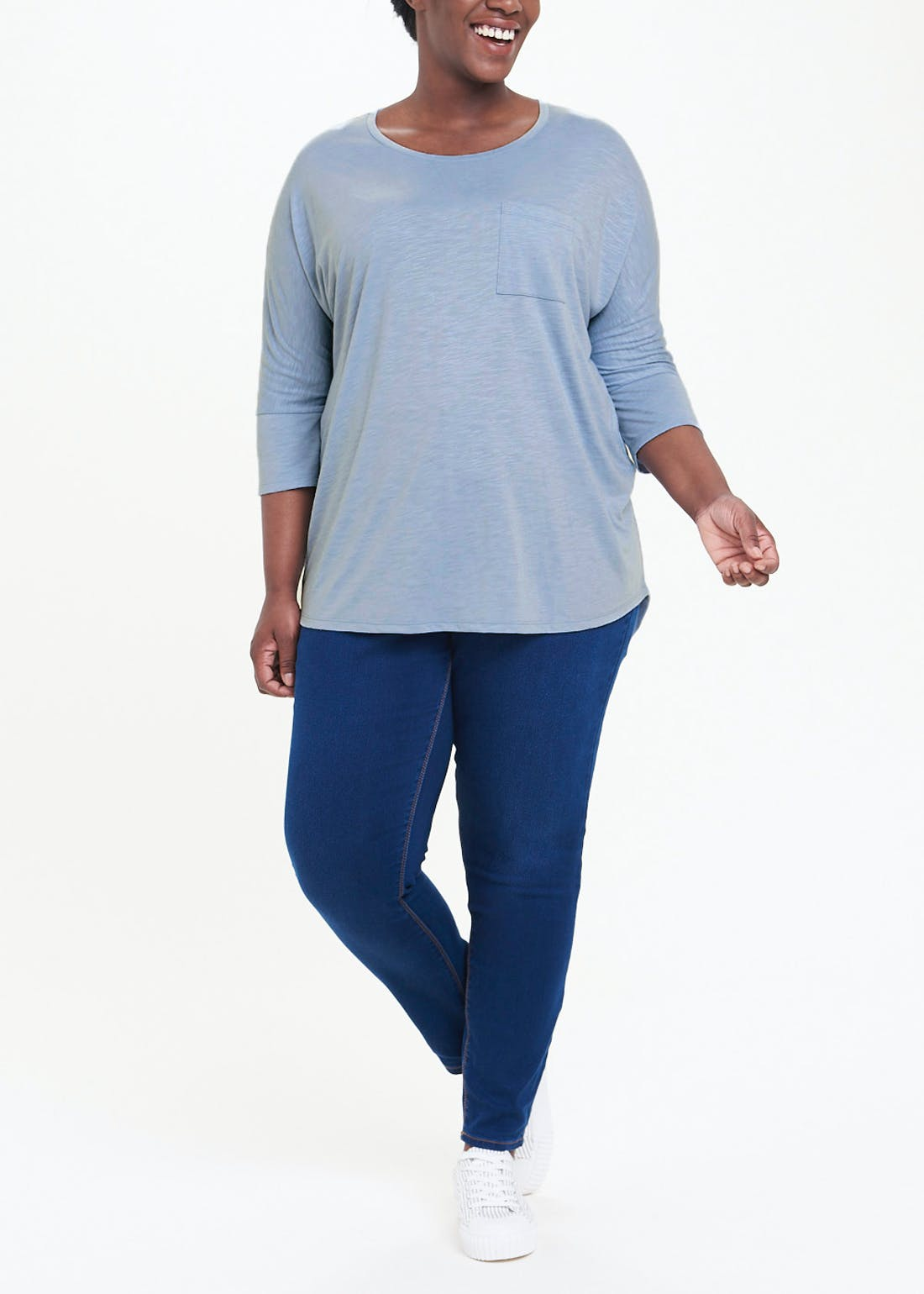 Papaya Curve 3/4 Sleeve Basic T-Shirt