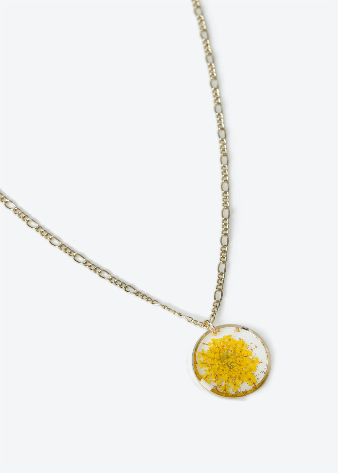 Flower trapped mustard necklace