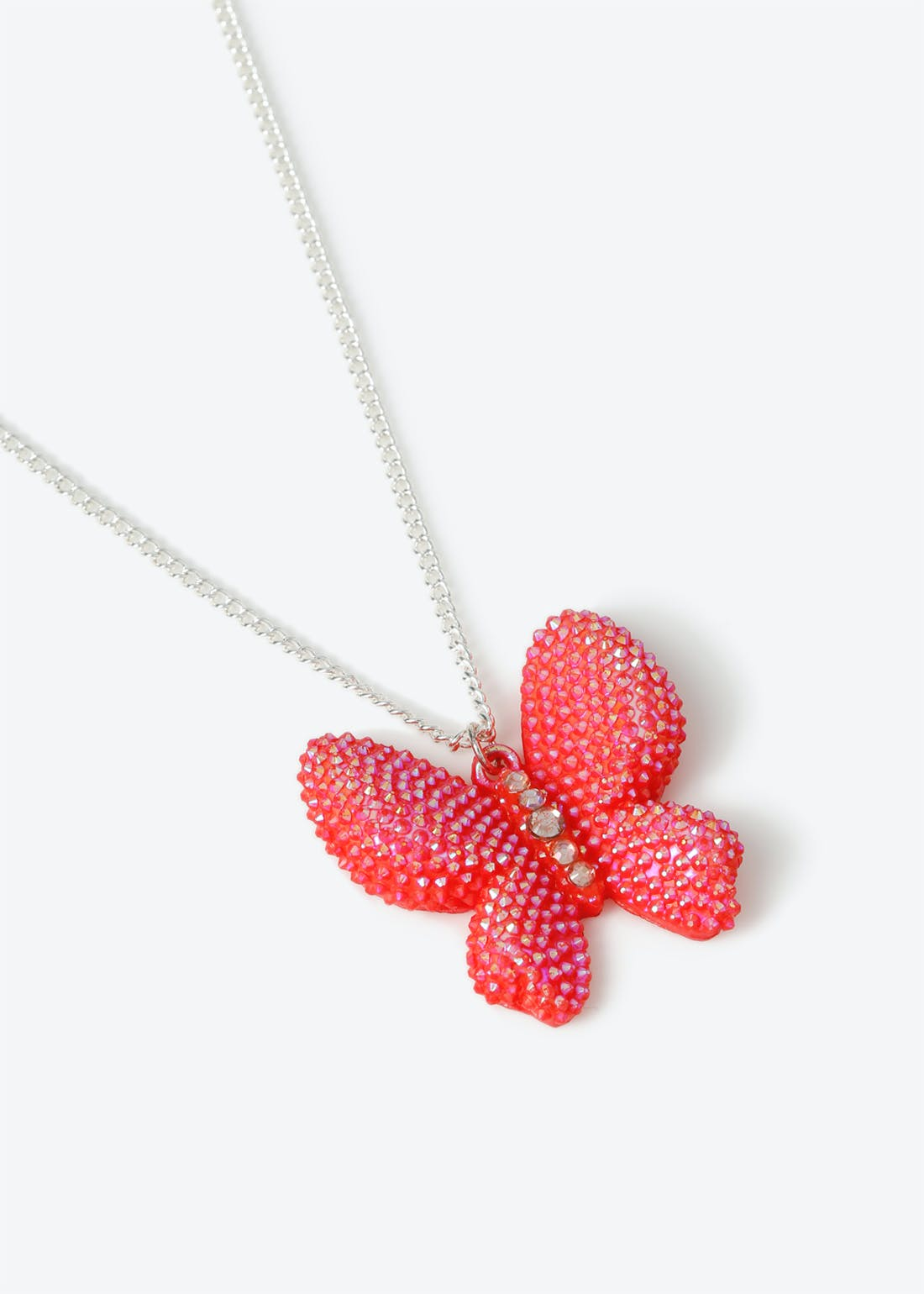 Girls Pink Butterfly Necklace