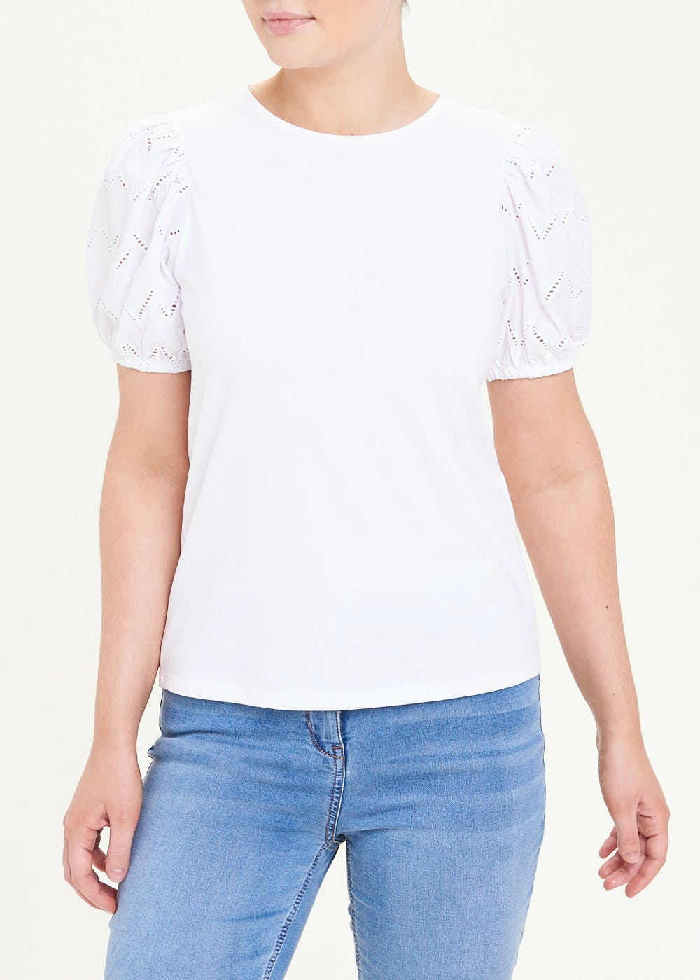 Embroidered Puff Sleeve T-Shirt – White