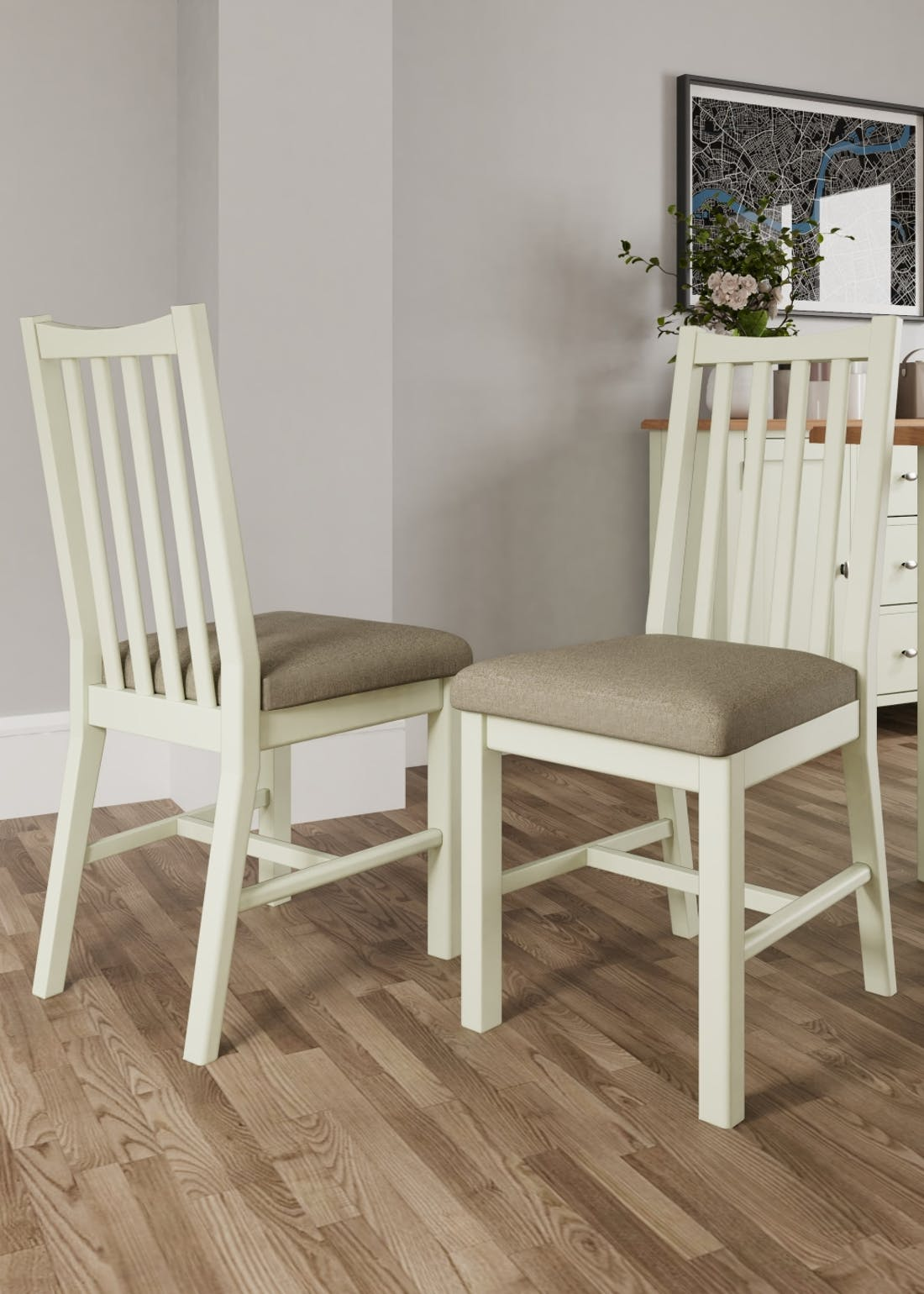 Interiors Direct 2 Pack Grayson Dining Chairs (91cm x 42cm x 39cm)