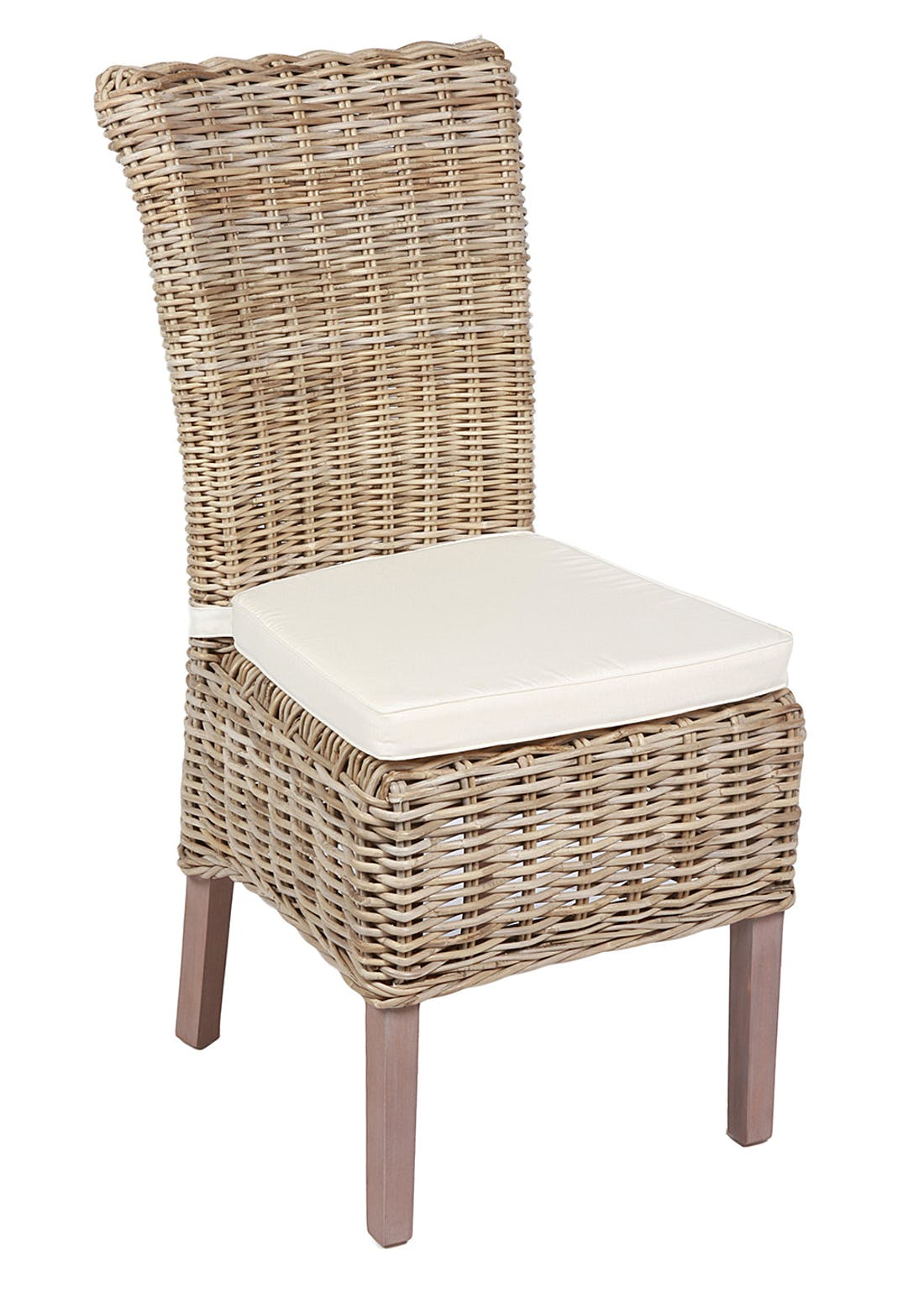 Interiors Direct Arundel 2 Pack Wicker Chairs with Cushion (105cm x 60cm x 46cm)