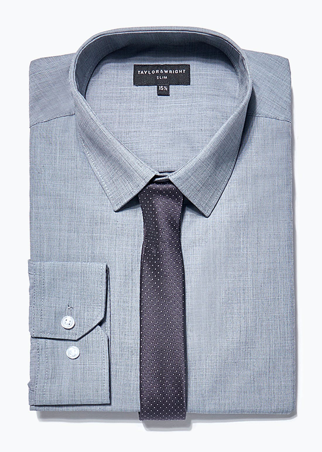 Taylor & Wright Long Sleeve Slim Fit Shirt & Tie