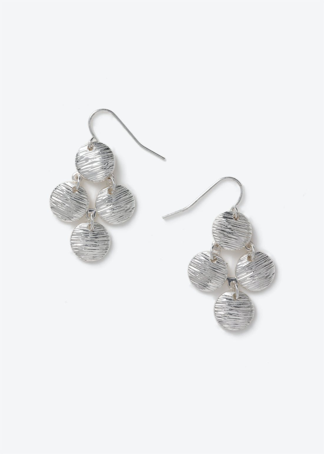 Etched Disc Drop Earrings