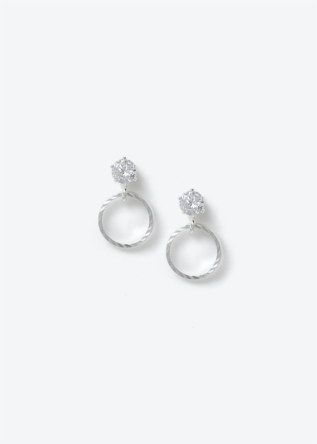 Sterling Silver Cubic Zirconia Circle Studs