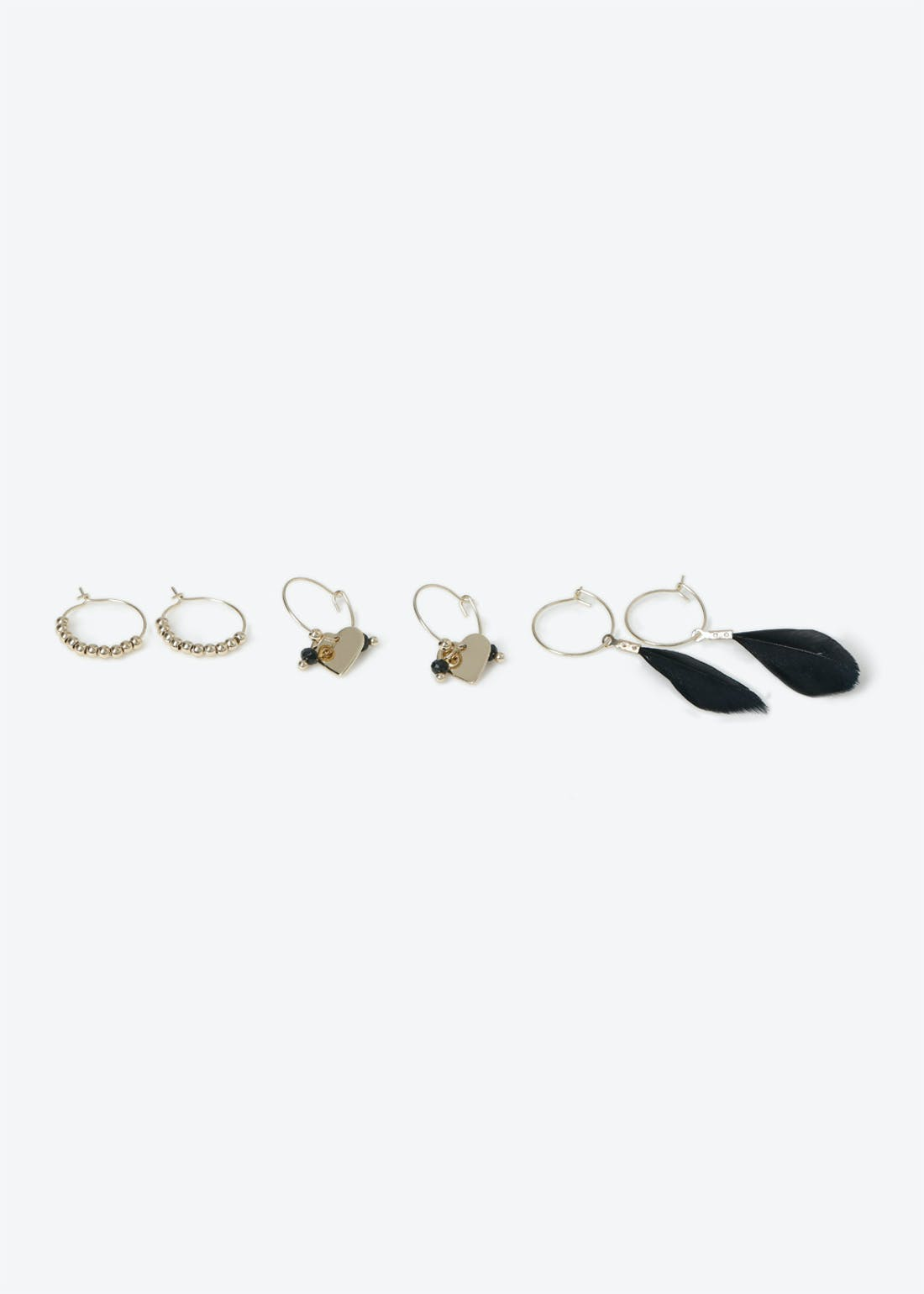 Feather & Heart Charm Hoop 3 Pack
