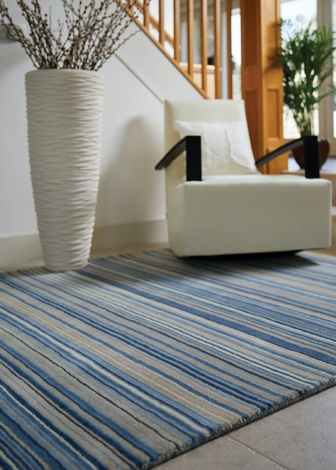 Origins Blue Fine Stripes Wool Rug