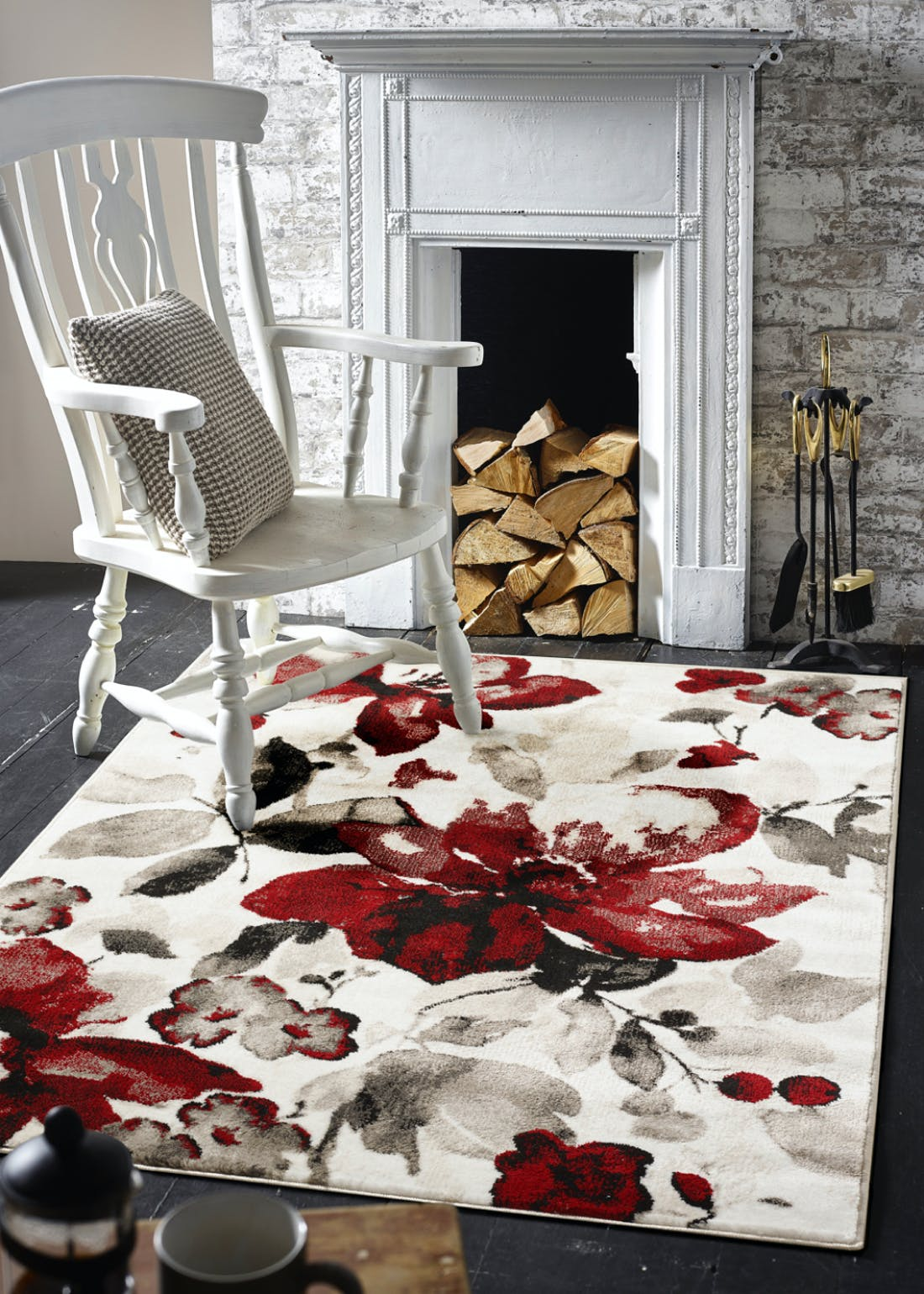 Origins Red Watercolour Floral Rug
