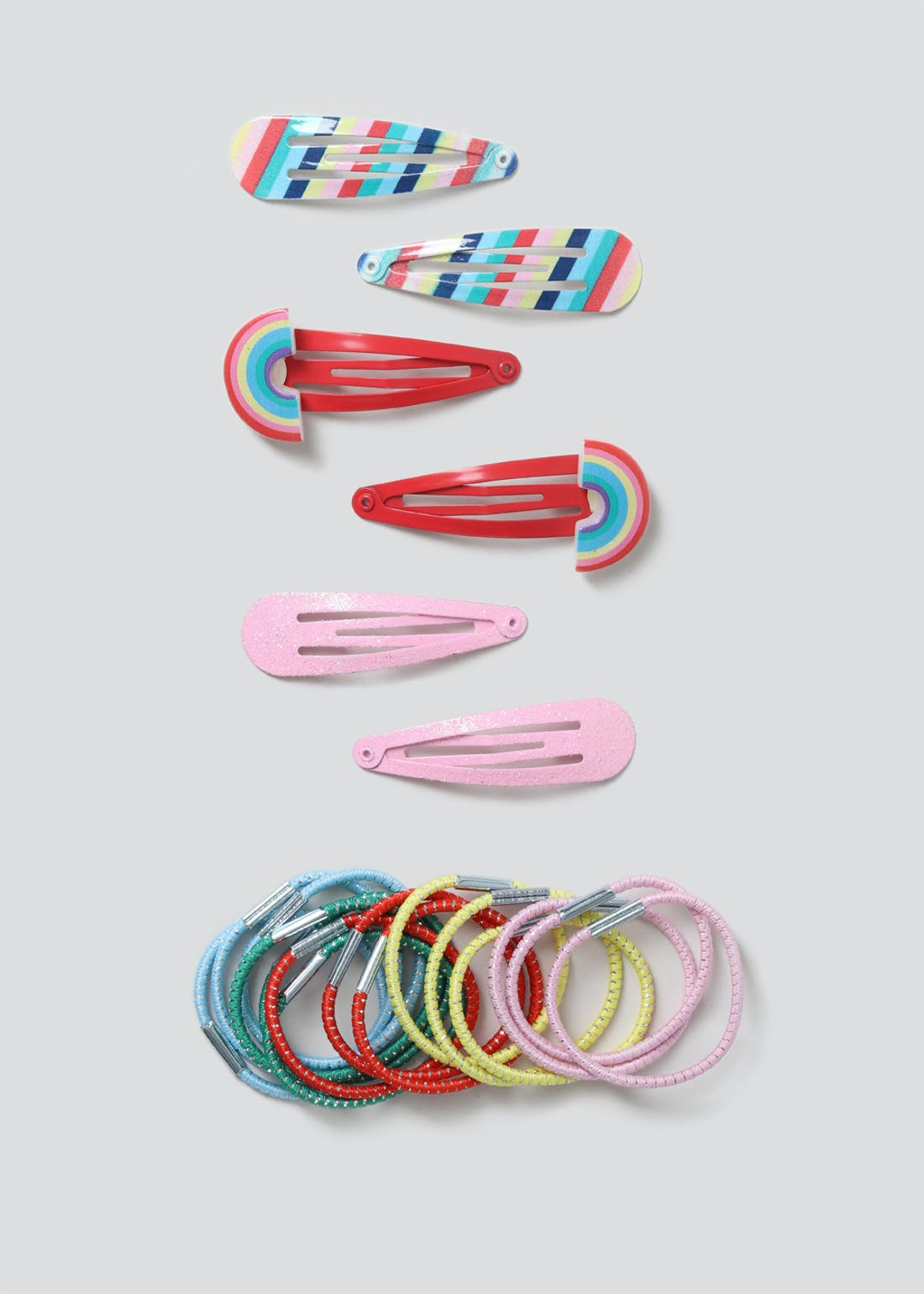 Girls Rainbow Clip And Bobble Hair Multipack