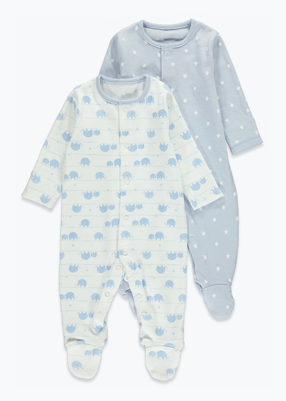 Unisex 2 Pack Elephant Print Baby Grows (Tiny Baby-23mths)