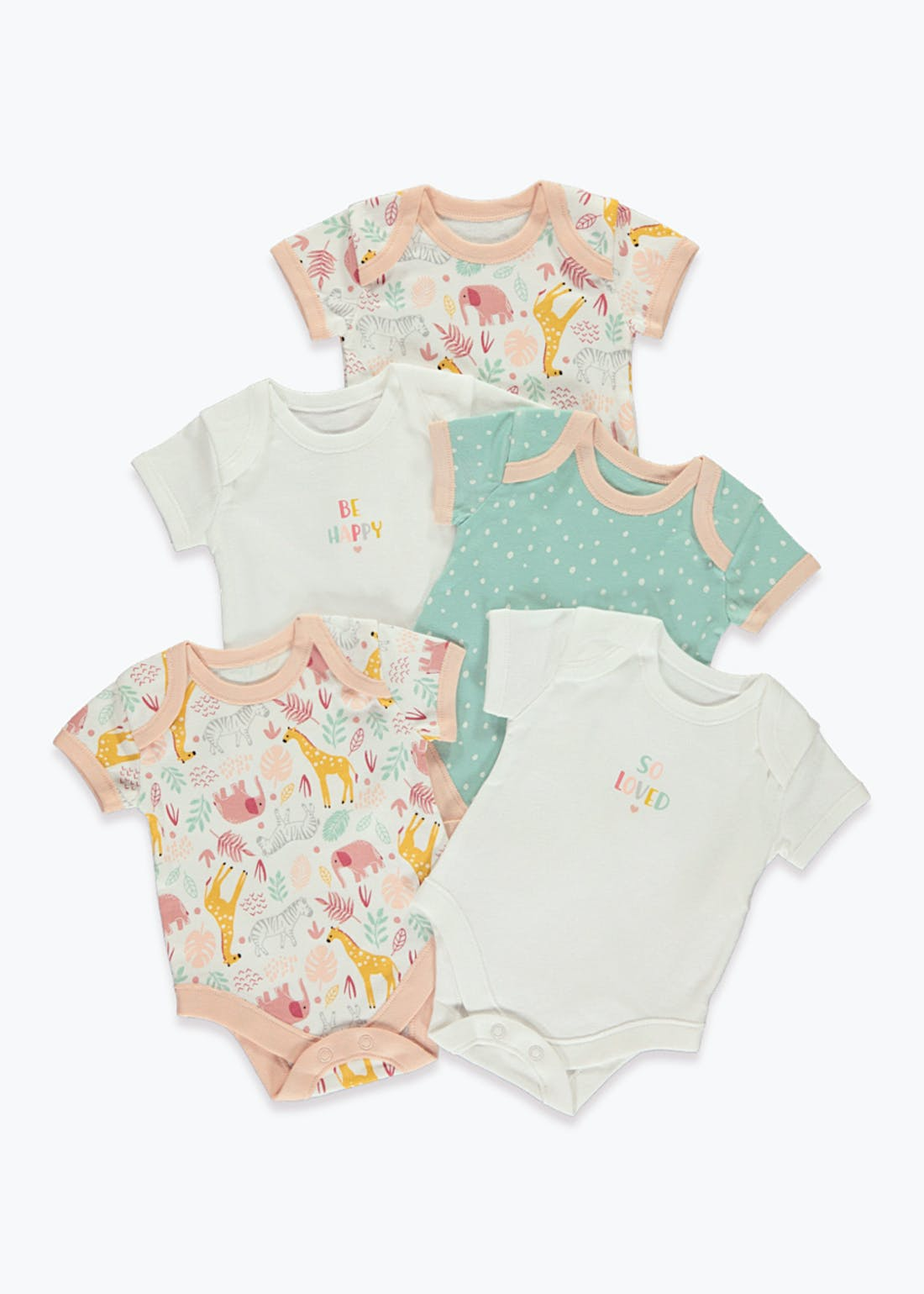 Girls 5 Pack Safari Print Bodysuits (Tiny Baby-23mths)
